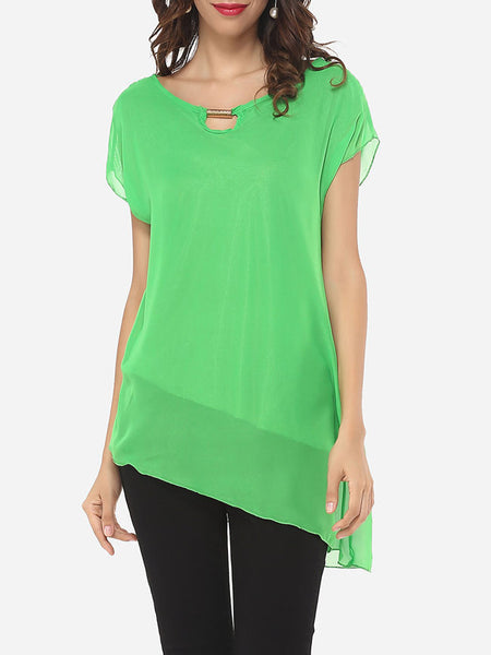Casual Plain Asymmetrical Hems Delightful Blouse
