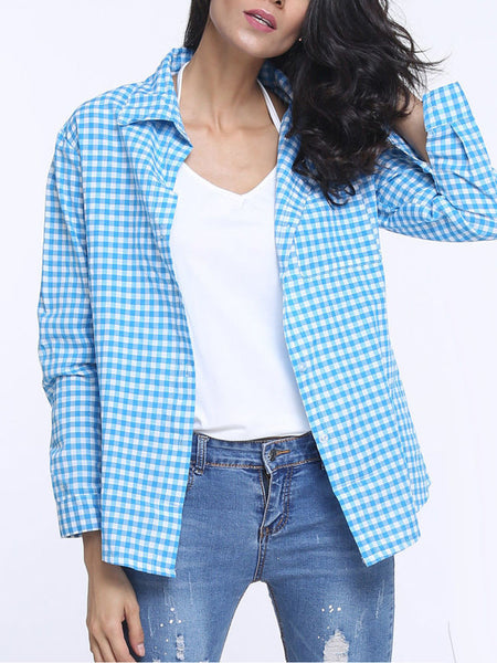 Casual Plaid Lapel Long Sleeve Blouse