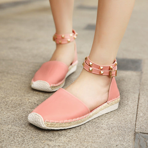 Streetstyle  Casual Big Size Vintage Rivet Knitting Buckle Interlaced Straps Flat Roman Sandals