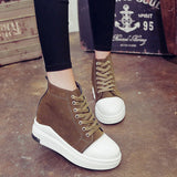 ByChicStyle Casual Heel Increasing Platform Lace Up High Top Casual Shoes