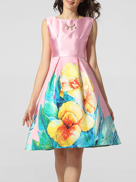 Lovely Boat Neck Floral Printed Skater Dress - Bychicstyle.com