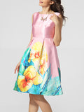 ByChicStyle Lovely Boat Neck Floral Printed Skater Dress - Bychicstyle.com