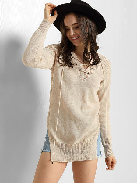 V Neck Lace-Up Side-Vented Plain Sweater - Bychicstyle.com