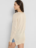 ByChicStyle V Neck Lace-Up Side-Vented Plain Sweater - Bychicstyle.com