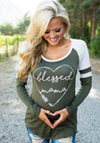 ByChicStyle Army Green Love Print Maternity Pregnant Woman Round Neck Long Sleeve T-Shirt