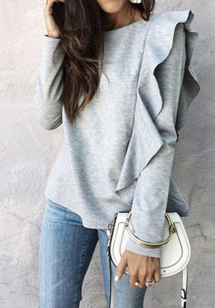 Grey Irregular Ruffle Round Neck Long Sleeve Fashion T-Shirt