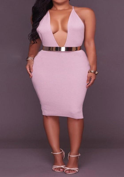 Pink Depp V-neck Cross Back Spaghetti Strap Bodycon Pencil Midi Dress