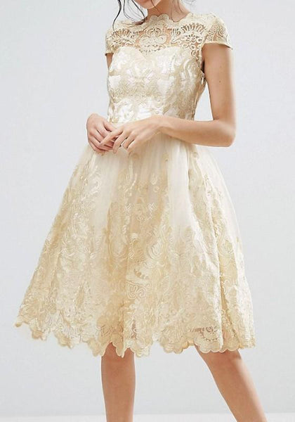 Golden Patchwork Grenadine Lace Pleated Round Tutu Party Midi Dress
