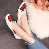ByChicStyle Casual Flower Embroidery Vintage Flat Slip On Shoes