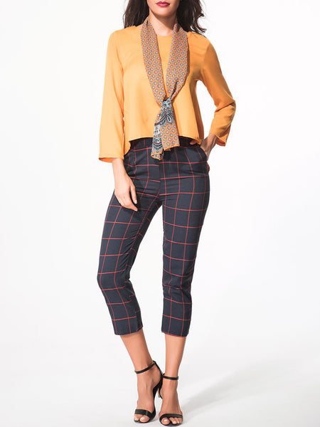 Casual Round Neck Dip Hem Plain Tee With Scarf And Pocket Plaid Slim-Leg Pant