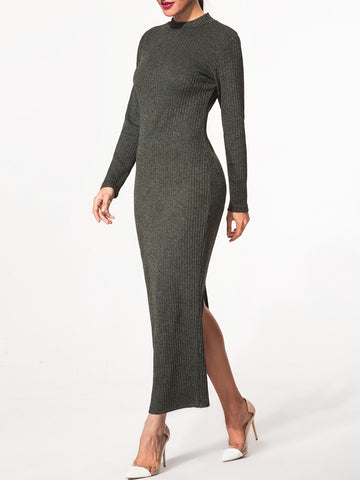 High Neck Slit Plain Knitted-Dress - Bychicstyle.com