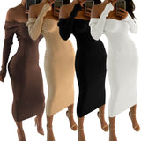 ByChicStyle Casual Sexy Womens Midi Dress Ladies Knitting Long Sleeve Off Shoulder Sweater Jumper