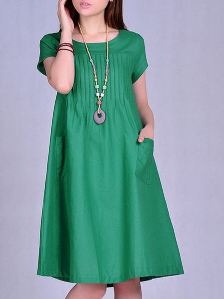 Concise Round Neck Loose Fitting Plain Shift-dresses - Bychicstyle.com