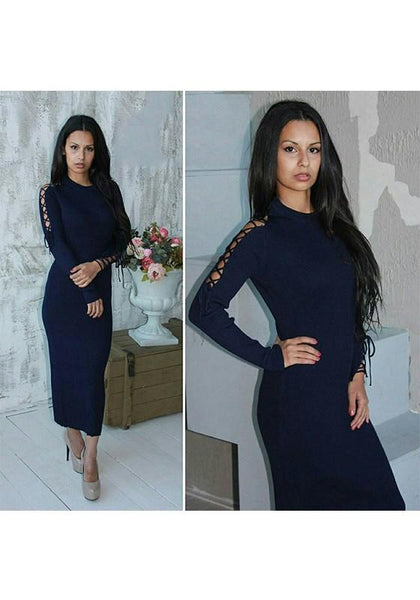 Dark Blue Drawstring Cut Out Round Neck Going out Midi Dress