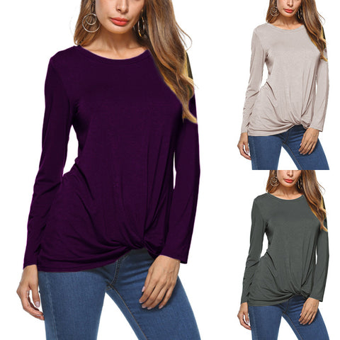 Casual Fashion Women 's Long-sleeved Blouse O-neck Slim T-shirt