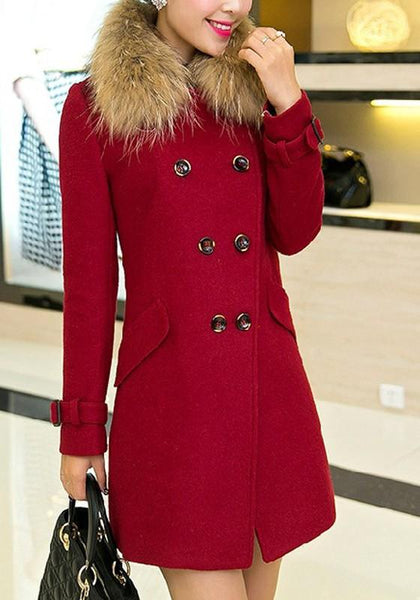 Red Patchwork Pockets Buttons Fur Collar Long Sleeve Wool Coat