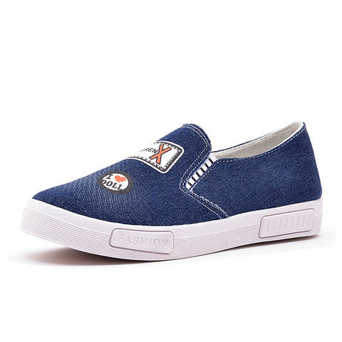 Casual Denim Breathable Printting Slip On Flat Casual Lazy Shoes