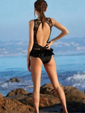ByChicStyle Casual Black Backless Cute Bikini Set