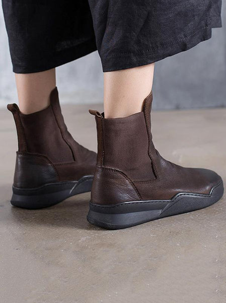 Leisure Cow Leather Ankle Boots