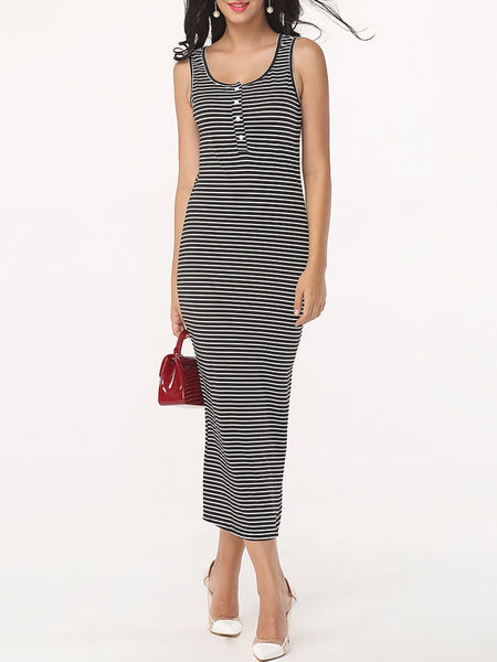 Striped Single Breasted Charming Scoop Neck Maxi-dress - Bychicstyle.com