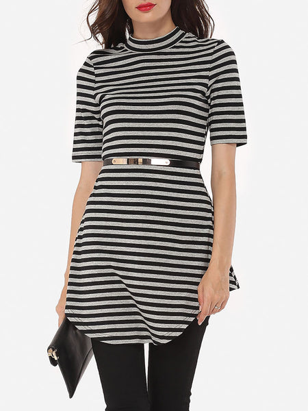 Striped Elegant Band Collar Short-sleeve-t-shirt - Bychicstyle.com