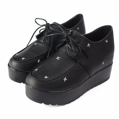 Casual Retro Black Cross Lace Up Flat Platform Shoes