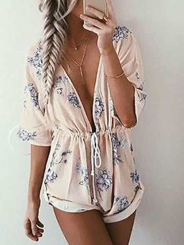 Casual Fashion Street Deep V Plunge Floral Print Romper