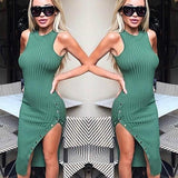 ByChicStyle Green Draped Single Breasted Front Slit Buttons Homecoming Party Bodycon Midi Dress