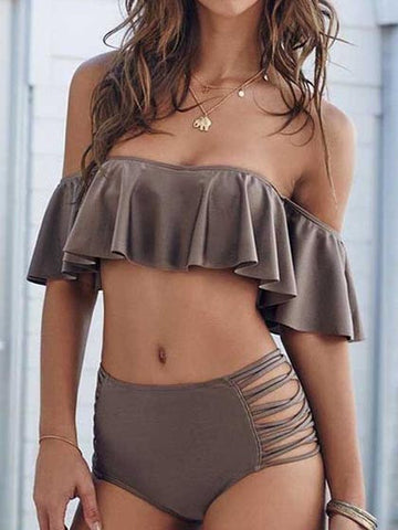 Casual Fashion Plain Off The Shoulder High Waist Bikini Set