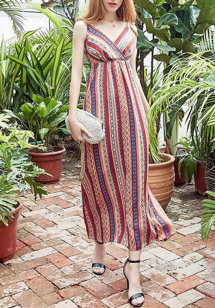 Red Striped Print Spaghetti Strap Sashes V-neck Bohemian Beach Party Midi Dress