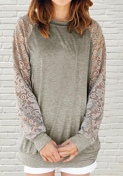 Grey Patchwork Lace Round Neck Long Sleeve Casual T-Shirt