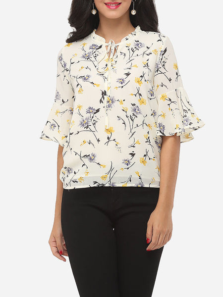 Floral Printed Loose Fitting Mandarin Sleeve Captivating Blouse - Bychicstyle.com
