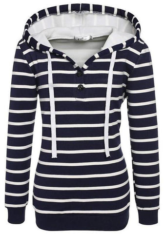 Blue Striped Drawstring Buttons Long Sleeve Hooded Sweatshirt