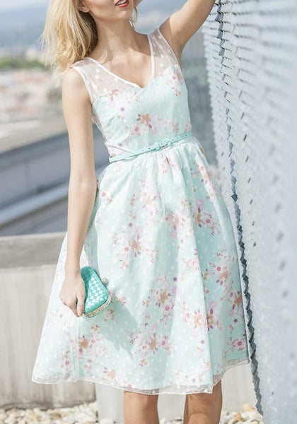 Light Blue Grenadine Draped Tutu V-neck Sweet Midi Dress