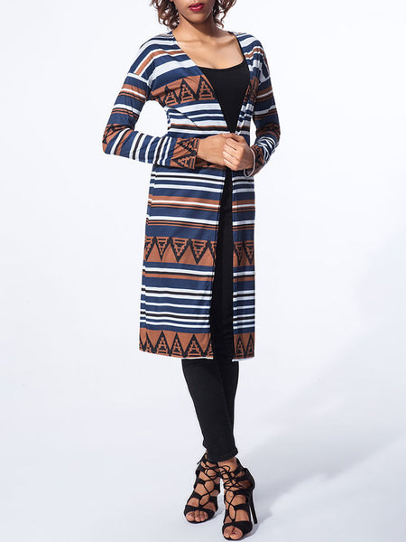 Collarless Geometric Striped Cardigan - Bychicstyle.com