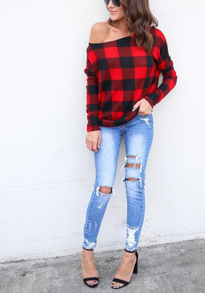 Red Plaid Asymmetric Shoulder One Off Shoulder Round Neck Long Sleeve Casual T-Shirt