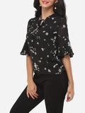 ByChicStyle Floral Printed Mandarin Sleeve Captivating Blouse - Bychicstyle.com