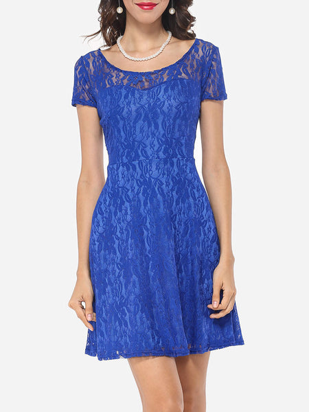 Lace Patchwork Plain Charming Elegant Round Neck Skater Dress - Bychicstyle.com