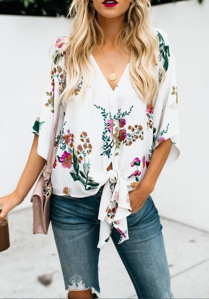 White Flowers Print Knot Half Sleeve V-neck Bohemian Blouse