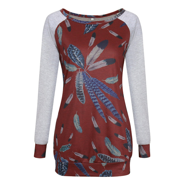 Women's Clothes Blouse Tops Bursting Round Collar Feather Printing T-Shirt