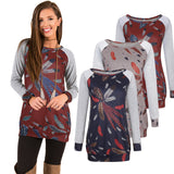 ByChicStyle Women's Clothes Blouse Tops Bursting Round Collar Feather Printing T-Shirt