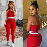 ByChicStyle Red Plain Drawstring Drawstring Waist Fashion Long Jumpsuit