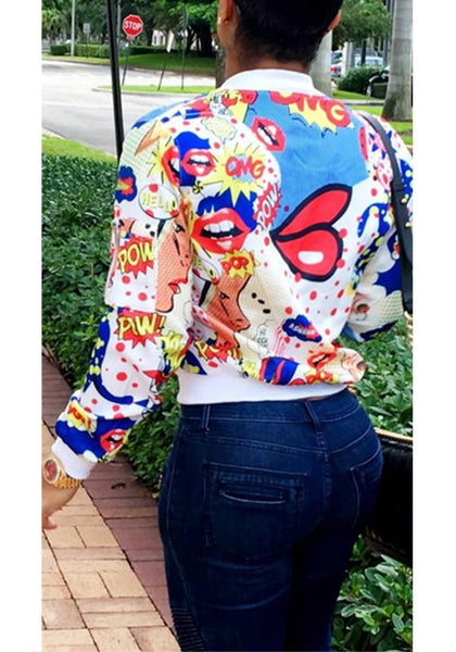 White Cartoon Print Zipper Round Neck Fashion Coat