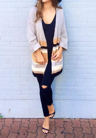 Apricot Color Block Print Long Sleeve Casual Cardigan Sweater
