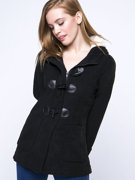 Hooded Patch Pocket Single Breasted Plain Coat - Bychicstyle.com