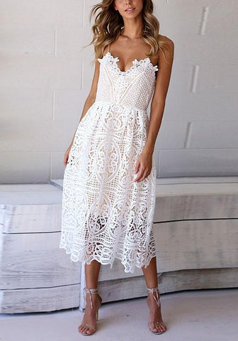 White Draped Lace Spaghetti Strap Deep V-neck Vegas Bohemian Cute Mini Dress