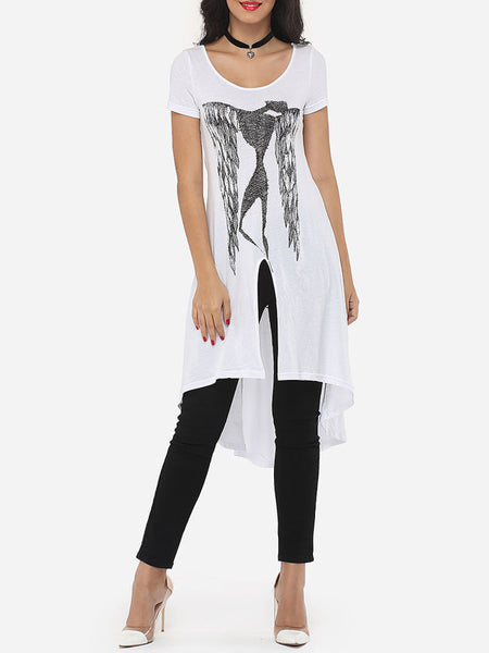 Cartoon Longline Tees Printed Split Modern Scoop Neck Short-sleeve-t-shirt - Bychicstyle.com