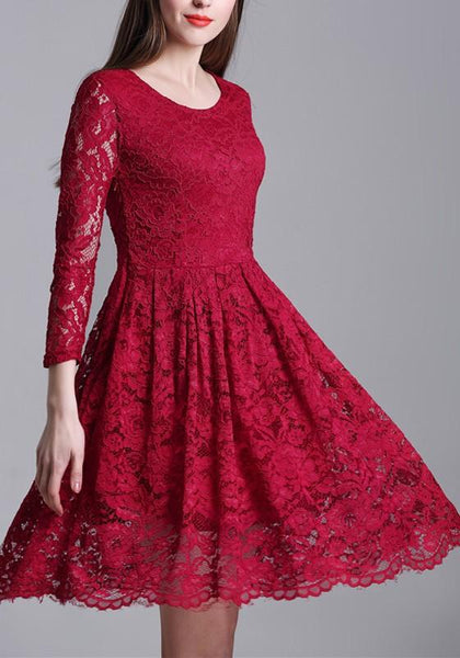 Red Draped Lace High Waisted Banquet Elegant Party Midi Dress