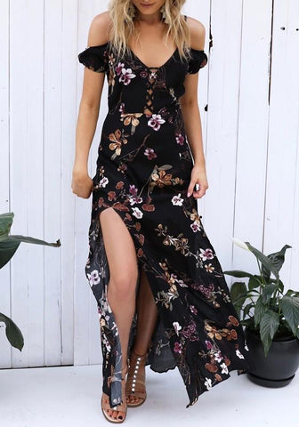 Black Flowers Cut Out Lace Up Bohemian Off Shoulder Spaghetti Strap Maxi Dress
