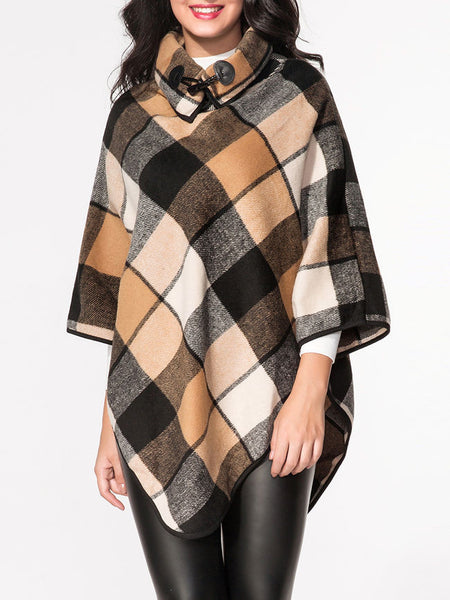 Turtle Neck Plaid Printed Cape - Bychicstyle.com